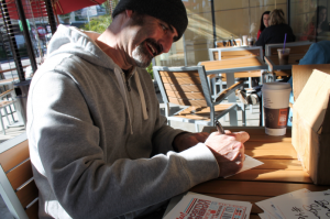 BRODY SIGNING POSTCARDS AT COFFE BEAN!!!!